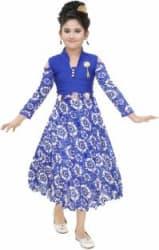 SBN Girls Midi/Knee Length Party Dress Blue, Full Sleeve