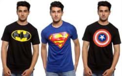 Smartees Printed Men Round Neck Black, Blue, Black T-Shirt Pack of 3