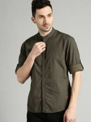 Roadster Men Olive Green & Navy Blue Printed Cotton Casual Shirt
