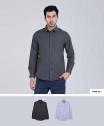 Metronaut Men Solid Casual Multicolor Shirt Pack of 2
