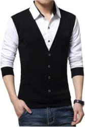 Try This Solid Men Polo Neck Black, White T-Shirt