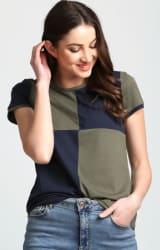 Aelomart Casual Regular Sleeve Color Block Women Light Green, Blue Top