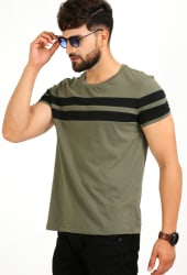 Aelomart Striped Men Round Neck Light Green, Black T-Shirt