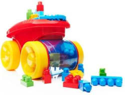 Mega Bloks First Builders Block Scooping Wagon Building Set, Red Multicolor