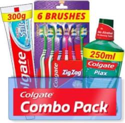 Colgate Active Salt Combo 6 Brushes, Mouthwash, Toothpaste Set of 3