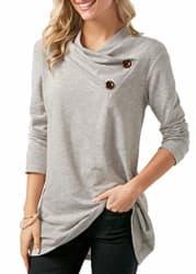 FreshTrend Grey Melange Full Sleeve Round Neck Tshirt for Women