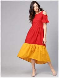 AASI- HOUSE OF NAYO Cotton Solid Maxi Dress Red
