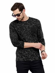 Maniac Men s Fullsleeve Round Neck All Over Printed Navy Cotton Tshirt
