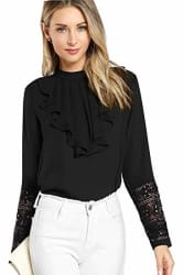 Alfa Fashion Ruffled Lace Casual Top for Women Western Under 500