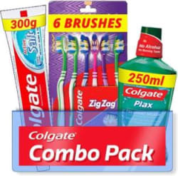 Colgate Active Salt Combo 6 Brushes, Mouthwash, Toothpaste Set of 3