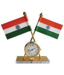Indian Flag with Quartz Watch for Car Dashboard & Decorative Purpose