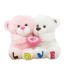 Tabby Toys White And Pink Cute Love Couple Teddy Bear - 35 Cm