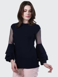 BuyNewTrend Casual Bell Sleeve Solid Women Dark Blue Top