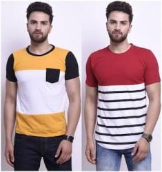STYLESMYTH Men Multi Regular fit Cotton Round neck T-Shirt - Pack Of 2