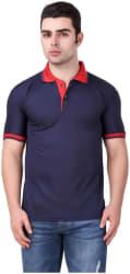 KETEX Men Slim fit Polo neck Solid T-Shirt - Blue