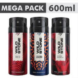 Wild Stone Ultra Sensual+ Red+Legend Combo Deodorant Body Mist - For Men 600 ml, Pack of 3