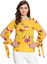 KISSERO Women Crepe Floral - Regular top Yellow