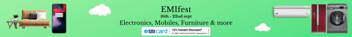 Amazon offers on Electronics - EMI fest (16th - 22nd sept) | Electronics, Mobiles, Furniture & more | Shop Now.