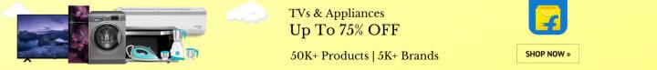 Flipkart offers on Electronics - TVs & Appliances | Sale Extended | Up To 75% OFF. | 50K+ Products | 5K+ Brands