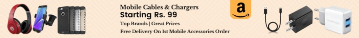 Amazon offers on Mobiles Accessories - Mobile Cables & Chargers | Starting Rs. 99 | Top Brands | Great Prices | Shop Now.
