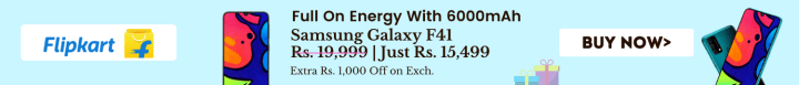 Flipkart offers on Mobiles - Samsung F41 | From Rs. 15,499 | Extra Rs. 1,000 Off on Exch.