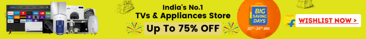 Flipkart offers on Electronics - Big Saving Days | TVs & Appliances Store | Up To 75% OFF | Shop Now.