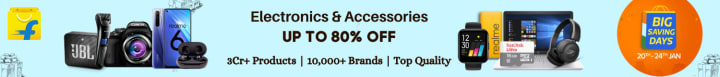Flipkart offers on Electronics - Electronics & Accessories | Up To 80% OFF | 3Cr+ Products | 10,000+ Brands | Top Quality.
