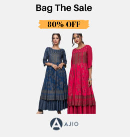 Ajio offers on Women Clothing - Bag The Sale | Flat 60% OFF | Shop Now.