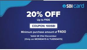 Get 20% Discount using SBI Credit Card Order Value above Rs.400 | MONDAYS & TUESDAYS
