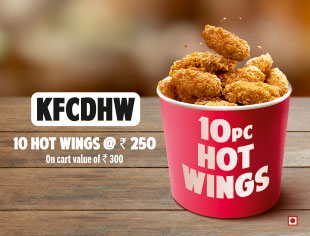 Hot Wings 10 Pcs for Rs.250 on cart Value above Rs.300