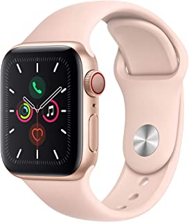 Amazon offers on Mobiles - Apple Watch Series 5 (GPS + Cellular, 40mm) - Gold Aluminium Case with Pink Sport Band