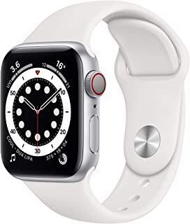 Amazon offers on Mobiles - New Apple Watch Series 6 (GPS + Cellular, 40mm) - Silver Aluminium Case with White Sport Band