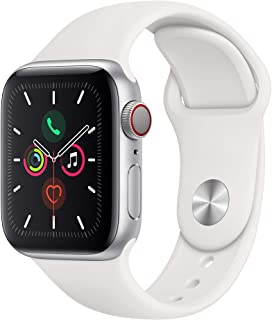 Amazon offers on Mobiles - Apple Watch Series 5 (GPS + Cellular, 40mm) - Silver Aluminium Case with White Sport Band