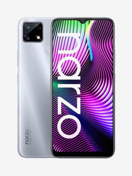 Tata Cliq offers on Mobiles - RealMe Narzo 20 64 GB (Glory Sliver) 4 GB RAM, Dual SIM 4G