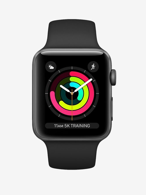 Tata Cliq offers on Mobiles - Apple Watch Series 3 MTF02HN/A (GPS, 38mm) Space Gray Aluminum Case with Sport Band (Black)