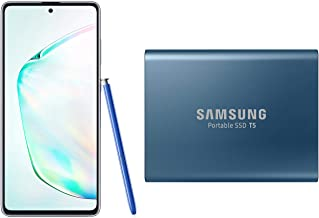 Amazon offers on Mobiles - Samsung Galaxy Note10 Lite (Aura Glow, 8GB RAM, 128GB Storage)-Samsung T5 500GB USB 3.1 Gen 2 (10Gbps, Type-C) External Solid State Drive (Portable SSD) Alluring Blue