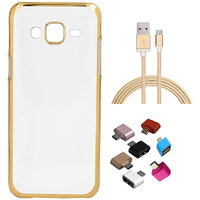 Shopclues offers on Mobiles - Golden Chrome Soft TPU Cover and Golden Nylon USB Cable and Micro USB OTG Adaptor for Samsung Tizen Z3