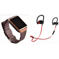 Shopclues offers on Mobiles - Mirza DZ09 Smart Watch and QC 10 Bluetooth Headphone for SAMSUNG GALAXY AVANT (DZ09 Smart Watch With 4G Sim Card, Memory Card QC 10 Bluetooth Headphone)