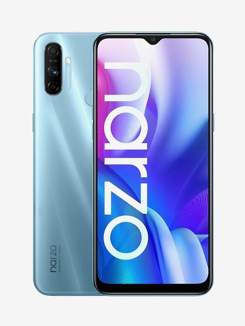 Tata Cliq offers on Mobiles - RealMe Narzo 20A 64 GB (Victory Blue) 4 GB RAM, Dual SIM 4G