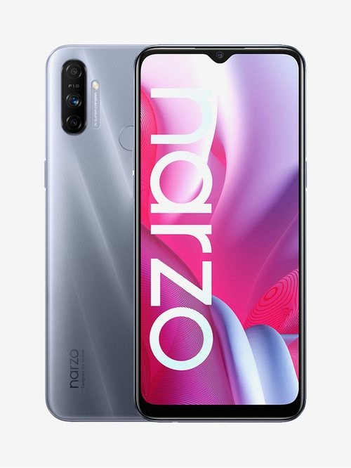 Tata Cliq offers on Mobiles - RealMe Narzo 20A 32 GB (Glory Sliver) 3 GB RAM, Dual SIM 4G