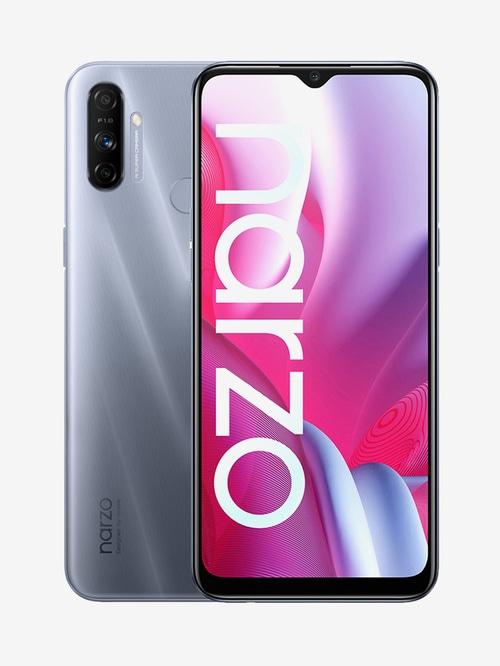 Tata Cliq offers on Mobiles - RealMe Narzo 20A 64 GB (Glory Sliver) 4 GB RAM, Dual SIM 4G