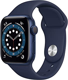 Amazon offers on Mobiles - New Apple Watch Series 6 (GPS, 40mm) - Blue Aluminium Case with Deep Navy Sport Band