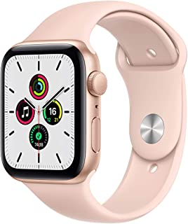 Amazon offers on Mobiles - Apple Watch SE (GPS, 44mm) - Gold Aluminium Case with Pink Sand Sport Band