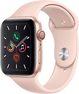 Amazon offers on Mobiles - Apple Watch Series 5 (GPS + Cellular, 44mm) - Gold Aluminium Case with Pink Sport Band