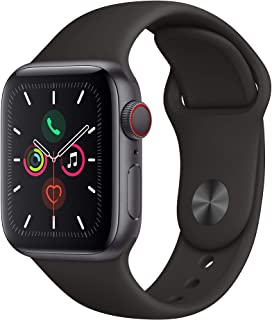 Amazon offers on Mobiles - Apple Watch Series 5 (GPS + Cellular, 40mm) - Space Gray Aluminium Case with Black Sport Band