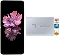Amazon offers on Mobiles - Samsung Galaxy Z Flip (Gold, 8GB RAM, 256GB Storage)-Samsung T7 Touch 1TB USB 3.2 Gen 2 (10Gbps, Type-C) External Solid State Drive (Portable SSD) Silver (MU-PC1T0B)
