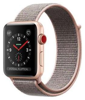 Paytmmall offers on Mobiles - Apple Watch Series 3 GPS + Cellular;42mm Gold Aluminium Case with Pink Sand Sport Loop