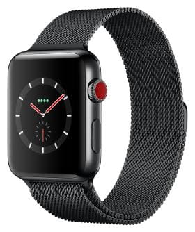 Paytmmall offers on Mobiles - Apple Watch Series 3 GPS + Cellular;38mm Space Black Stainless Steel Case with Space Black Milanese Loop