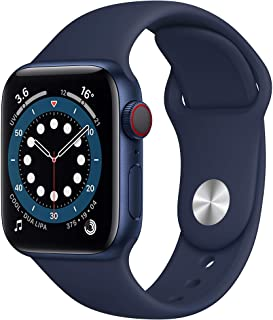 Amazon offers on Mobiles - New Apple Watch Series 6 (GPS + Cellular, 40mm) - Blue Aluminium Case with Deep Navy Sport Band