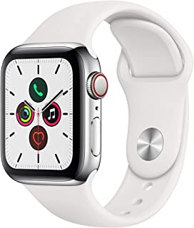 Amazon offers on Mobiles - Apple Watch Series 5 (GPS + Cellular, 40mm) - Stainless Steel Case with White Sport Band